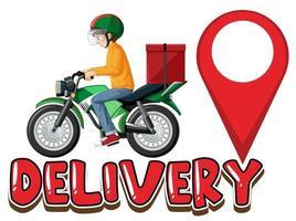 logotipo de entrega com homem na scooter vetor