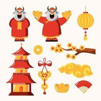 coleção de elementos do ano novo chinês 2021 vetor