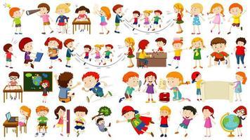conjunto de personagens de desenhos animados infantis fofos vetor