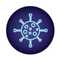 Partícula de vírus covid19 em estilo neon