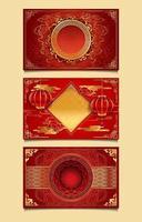 modelos decorativos de ano novo chinês em vermelho e dourado vetor