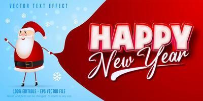 texto de feliz ano novo, efeito de texto editável de estilo natal