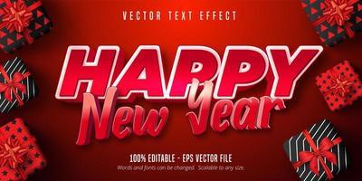 texto de feliz ano novo, efeito de texto editável de estilo de cor vermelha vetor