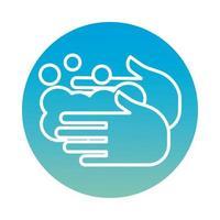 ícone de estilo de bloco de lavagem de mãos vetor