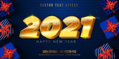 Texto de feliz ano novo de 2021, efeito de texto editável estilo dourado brilhante