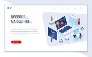 página de destino isométrica de marketing de referência vetor