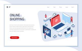página de destino isométrica de compras online vetor