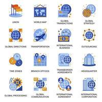 ícones de negócios globais definidos em estilo simples. vetor