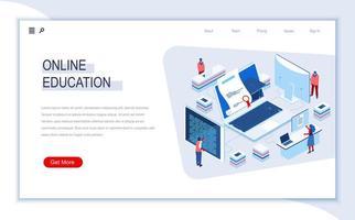 página de destino isométrica de educação online