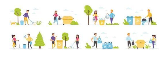 conjunto de coleta de lixo com personagens de pessoas