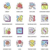 conjunto de ícones lisos de crédito e empréstimo.