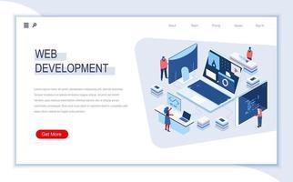 página de destino isométrica de desenvolvimento web vetor