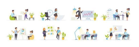 gerenciamento de escritório definido com personagens de pessoas vetor