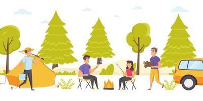 grupo de amigos passa um tempo em acampamento na floresta vetor