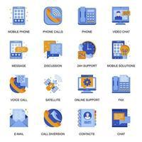 ícones de comunicação de pessoas definidos em estilo simples. vetor