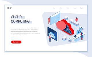 página de destino isométrica da computação em nuvem
