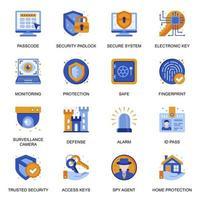 ícones do sistema de segurança definidos em estilo simples. vetor