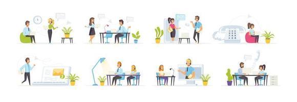 call center com personagens de pessoas