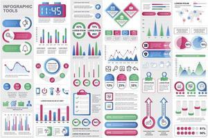 elementos de infográfico de negócios definidos em estilo simples vetor