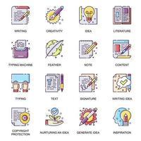 direitos autorais trabalho conjunto de ícones lisos. vetor