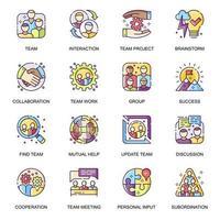 conjunto de ícones plana de trabalho em equipe. vetor
