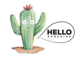 Estilo bonito Cactus Botânico Aquarela Planta vetor