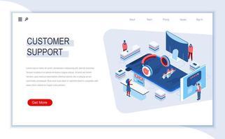 página de destino isométrica do suporte ao cliente vetor