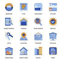 ícones imobiliários definidos em estilo simples.