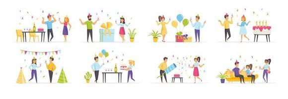 festa de aniversário com personagens de pessoas vetor