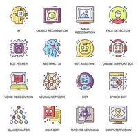 conjunto de ícones planos de inteligência artificial.