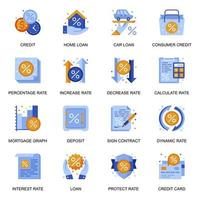 ícones de crédito e empréstimo definidos em estilo simples.