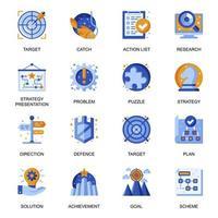 ícones de estratégia de negócios definidos em estilo simples. vetor