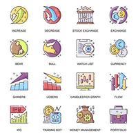 conjunto de ícones plana de cotações de ações. vetor
