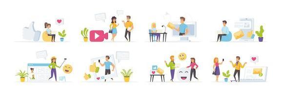 mídia social com personagens de pessoas vetor
