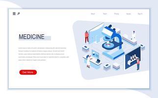 página de destino isométrica da medicina