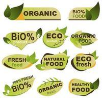 conjunto de emblemas de alimentos frescos, orgânicos, ecológicos