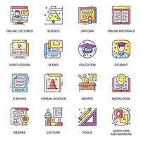 conjunto de ícones lisos da educação moderna.