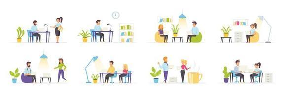 espaço de coworking com personagens de pessoas vetor