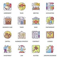 conjunto de ícones lisos de desenvolvimento de negócios. vetor