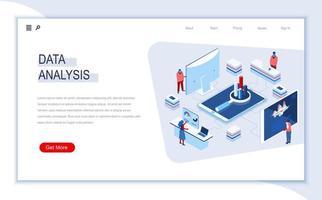 página de destino isométrica de análise de dados vetor