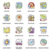 conjunto de ícones planos de ecologia global. Reciclagem de lixo