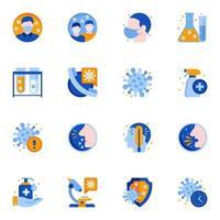 ícones planos de proteção contra epidemia de coronavírus