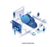 página de destino isométrica do serviço de computação em nuvem vetor