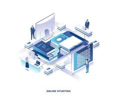 educação a distância, curso de internet design isométrico vetor