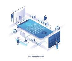 desenvolvimento de aplicativos móveis design isométrico vetor