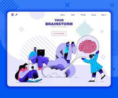 modelo de página de destino de brainstorming vetor