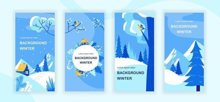 histórias de mídia social de cenário de inverno vetor