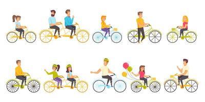 conjunto plano de ciclistas vetor