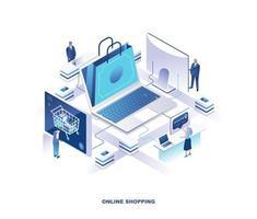 compras online, design isomérico de serviço de varejo digital vetor
