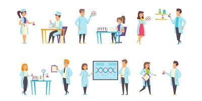 conjunto plano de laboratórios médicos vetor
